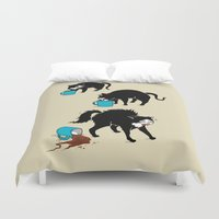 coffee Duvet Covers featuring Coffee Cat by Boots