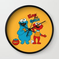 elmo Wall Clocks featuring Elmo & Cookie Fan Art by gabriela