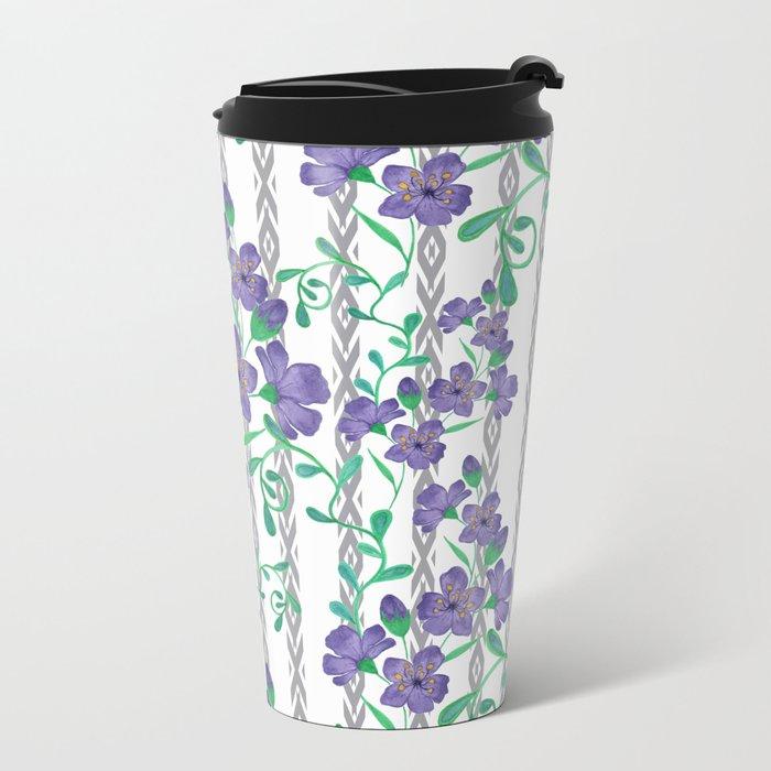 Flowers on a striped background. Metal Travel Mug
