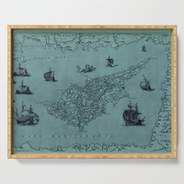 Map Of Cyprus 1569 Serving Tray