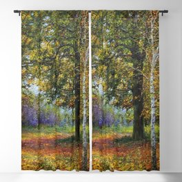 Jewels of Autumn Foliage with Sugar Maples, Lilac, White Birch & Blueberry landscape by V. Metyolkin Blackout Curtain
