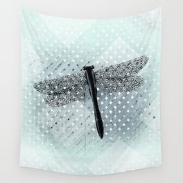 Boho Dragonfly on Light Turquoise Lattice Fence Pattern Wall Tapestry