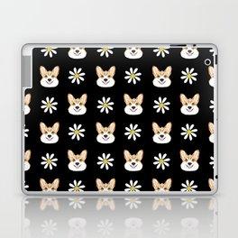 Corgi welsh corgi daisy flowers spring summer florals dog breed pet portrait by pet friendly Laptop & iPad Skin