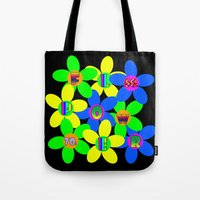 60s Tote Bags featuring Flower Power 60s-70s by dedmanshootn