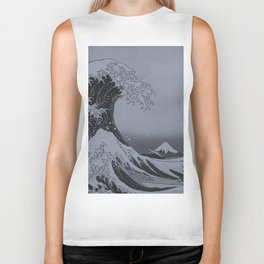Silver Japanese Great Wave off Kanagawa by Hokusai Biker Tank