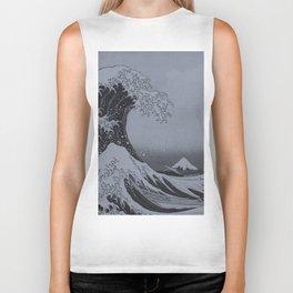 Silver Japanese Great Wave off Kanagawa by Hokusai Biker Tank