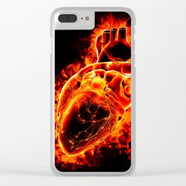 Heart on fire Clear iPhone Case
