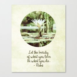Zen Flower Water Lily With Inspirational Rumi Quote Canvas Print