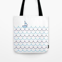 Sail Boat on Water Tote Bag
