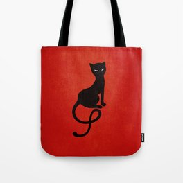 Red Gracious Evil Black Cat Tote Bag