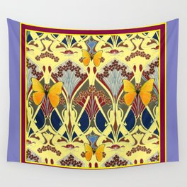 Decorative Yellow Art Nouveau Butterfly Maroon Designs Wall Tapestry