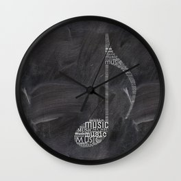 Chalkboard music note Wall Clock