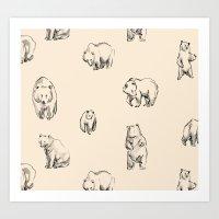 bears Art Prints featuring Bears by leah reena goren