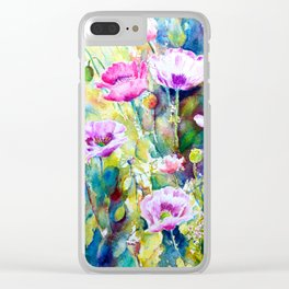 Watercolor purple poppies Clear iPhone Case