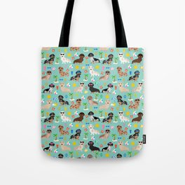 Dachshund beach sunshine summer days doxie dachsie gift must have dog gifts Tote Bag