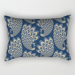 Blue and Gold Art Deco Peakock Rectangular Pillow