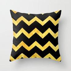 BLACK&GOLD: Chevron Throw Pillow
