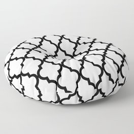 Moroccan Quatrefoil Pattern: Black & White Floor Pillow
