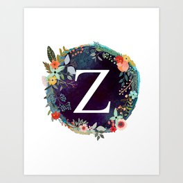 Personalized Monogram Initial Letter Z Floral Wreath Artwork Art Print