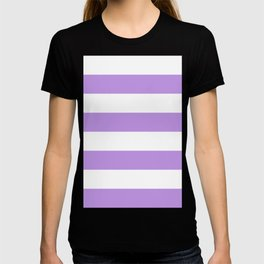 Wide Horizontal Stripes - White and Light Violet T-shirt
