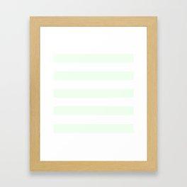Honeydew - solid color - white stripes pattern Framed Art Print