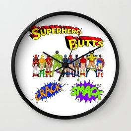 Superhero Butts Crack Smack Wall Clock