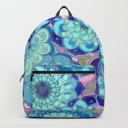 Radiant Cyan & Purple Stained Glass Floral Mandalas Backpack