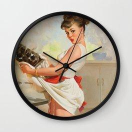 Pin Up Girl and Burnt Food Wall Clock