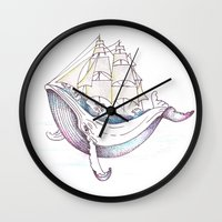 the whale Wall Clocks featuring whale by Ana Grigolia