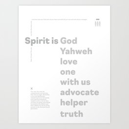 Trinity Poster Series: Spirit (3 of 3) [White] Art Print