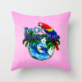 Pink Island Time Surfing Throw Pillow