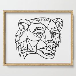 Grizzly Bear Head Mosaic Black and White Serving Tray