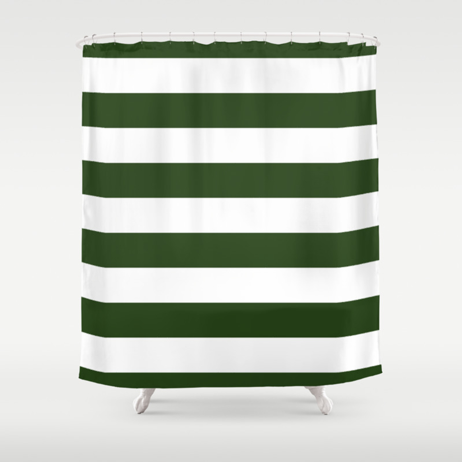 Large Dark Forest Green And White Cabana Tent Stripes Shower Curtain