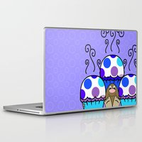 polkadot Laptop & iPad Skins featuring Cute Monster With Blue And Purple Polkadot Cupcakes by Mydeas