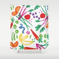 health Shower Curtains featuring Picture of Health by ColorisBrave