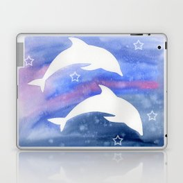 Dolphin Silhouette with watercolor background Laptop & iPad Skin