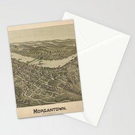 1897 street plan of Morgantown West Virginia Stationery Cards