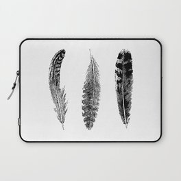 Feather Trio | Three Feathers | Bird Feathers | Black and White | Laptop Sleeve