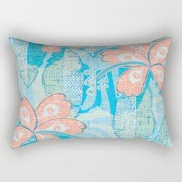 Vintage Hawaiian Tropical Print Rectangular Pillow