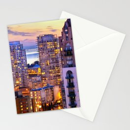 Yaletown Voyeuristic 0361 Vancouver Cityscape View English Bay British Columbia Canada Sunset Travel Stationery Cards