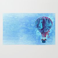 hot air balloon Area & Throw Rugs featuring Hot Air Balloon Love by Berberism Lifestyle