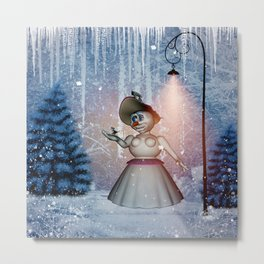 Funny snow women with bird Metal Print