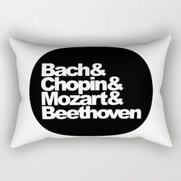 Bach and Chopin and Mozart and Beethoven, sticker, circle, black Rectangular Pillow