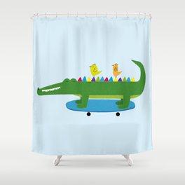 Crocodile and skateboard Shower Curtain