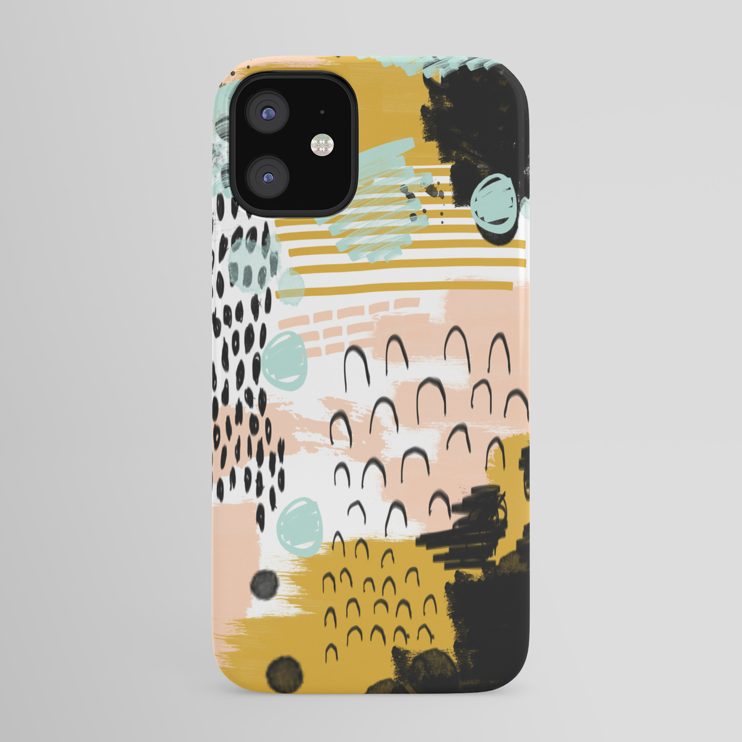 Ames Abstract Painting In Free Style With Modern Colors Navy Gold Blush White Mint Iphone Case By Charlottewinter Society6