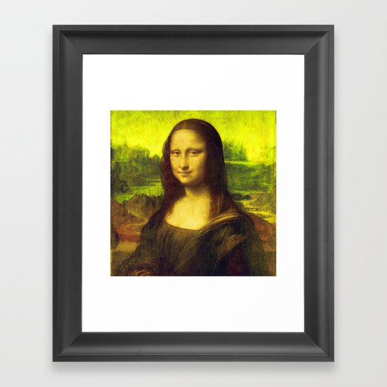 Mona Lisa's Haze (yellow) Framed Art Print