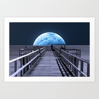 jazzberry Art Prints featuring Once in a blue moon by Donuts