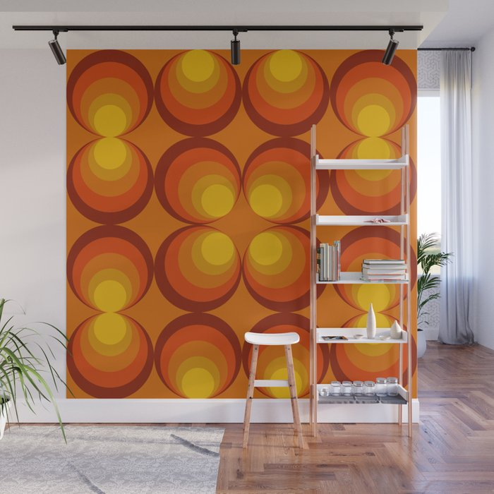 70s Circle Design - Orange Background Wall Mural