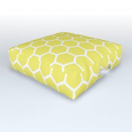 Summery Happy Yellow Honeycomb Pattern - MIX & MATCH Outdoor Floor Cushion