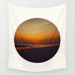 Mid Century Modern Round Circle Photo Graphic Design Orange Sunset Above Beach Wall Tapestry